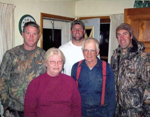 Favre and his Packer buds at the McCoy farm in '03