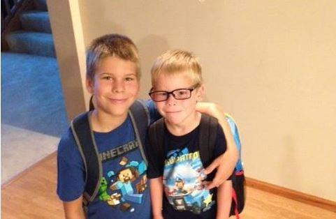 First day at Rushford Peterson Noah 5th grade and Joshua preschool / Photo: Barb
