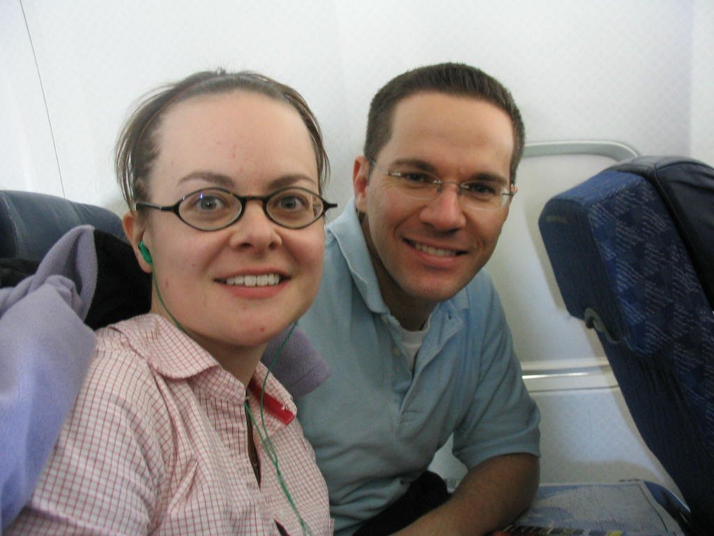 My wife, Jennifer, and I on the plane to Honduras