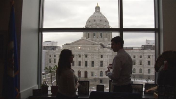 Sen. Jeremy Miller and reporter Shannon Rousseau