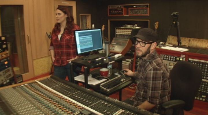 Nick Tveitbakk and Shannon Rousseau look in on a recording session