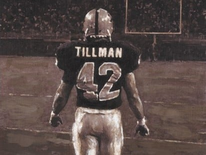 Painting honoring Pat Tillman's NFL years