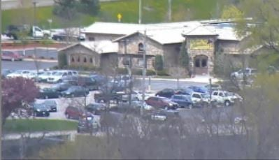 Police block off shooting scene after 1 p.m. (Photo from KTTC-TV Saint Marys Skycam)
