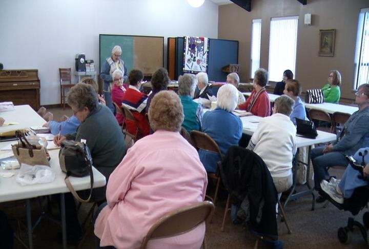The Keepsake Quilt Guild gathers for its monthly meeting at St. John's Lutheran Church in Austin.