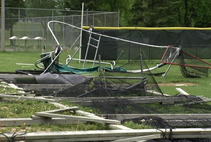 The baseball field in Plainview got a lot of damage from Wednesday night's tornado.