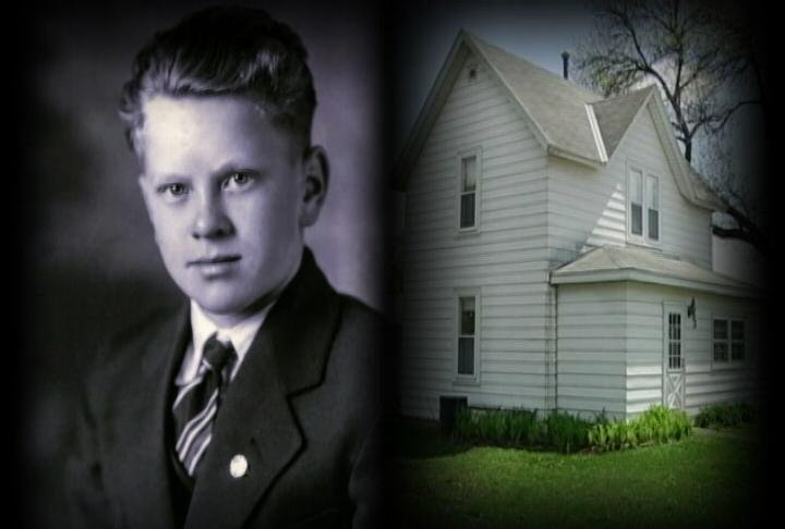 Glaydon as a boy, pictured with his childhood home in Emmons