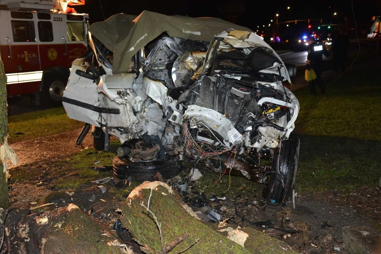 Police released two photos of the wrecked SUV.