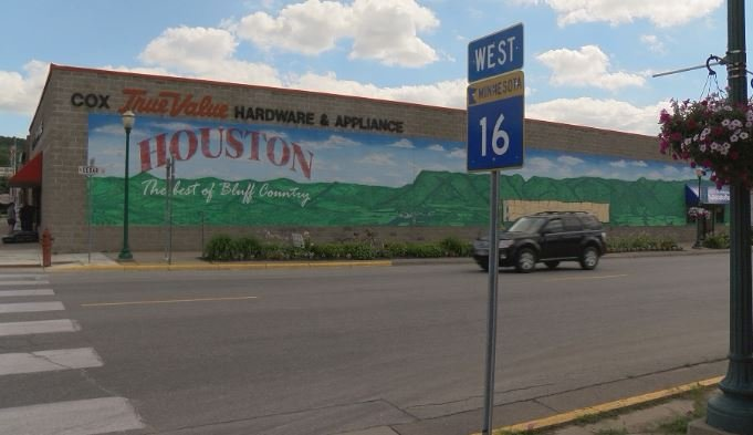 A painted mural is one of the first things you'll see upon entering Houston