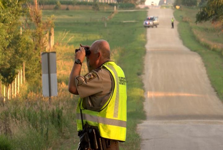 A deputy surveyed the scene.