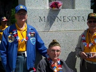 The Dumdei brothers at the Minnesota WWII Monument