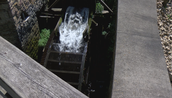 This overshot water wheel amazes visitors. A similar wheel powered the mill for four decades.