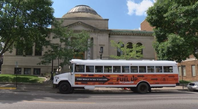 The Fuel Bus parked outside the Winona Public Library.
