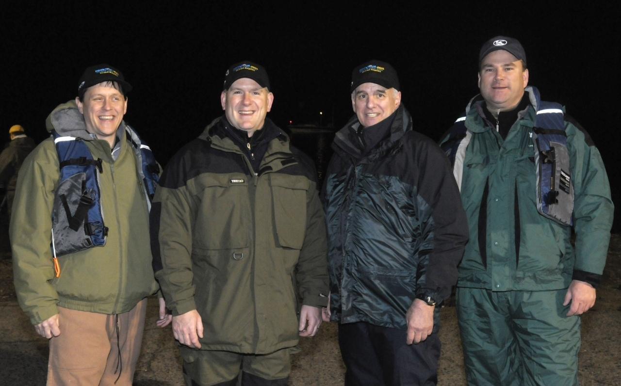 Gov. Dayton with [left to right] Majority Leader Matt Dean, Speaker Kurt Zellers and Rep. Joe Hoppe shortly before heading out to fish on Pokegama Lake.