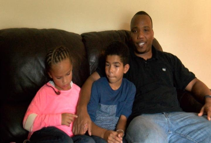 JaMario Ayers with son Jayden and daughter Jazmine