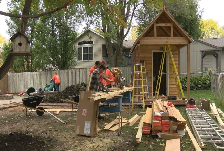 Team Depot volunteers are building a new playhouse for the Delaney family's son