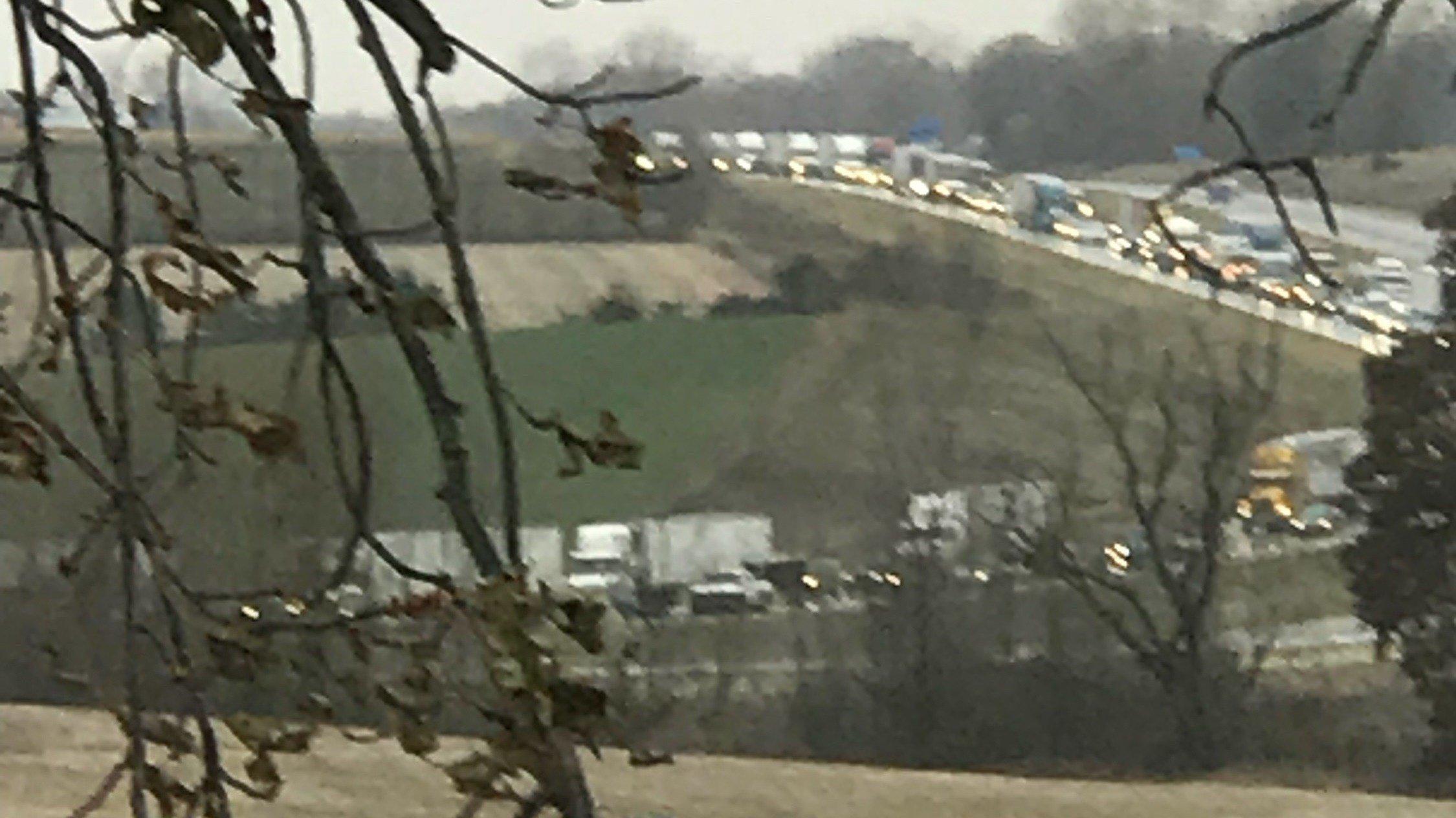 A crash on I-90 near Nodine slowed traffic there Saturday morning (Photo by Louie Literski)