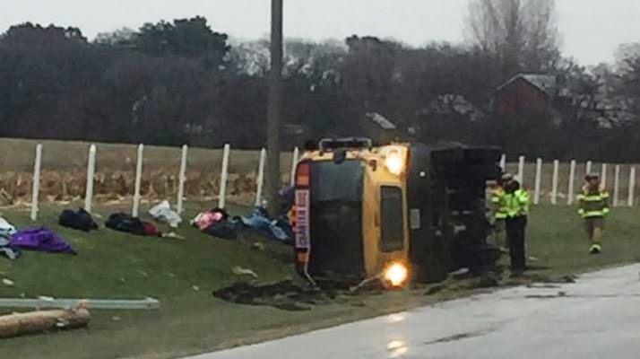 School Bus Rollover on Highway 52 near Predmore (photo by Connie Carlin)