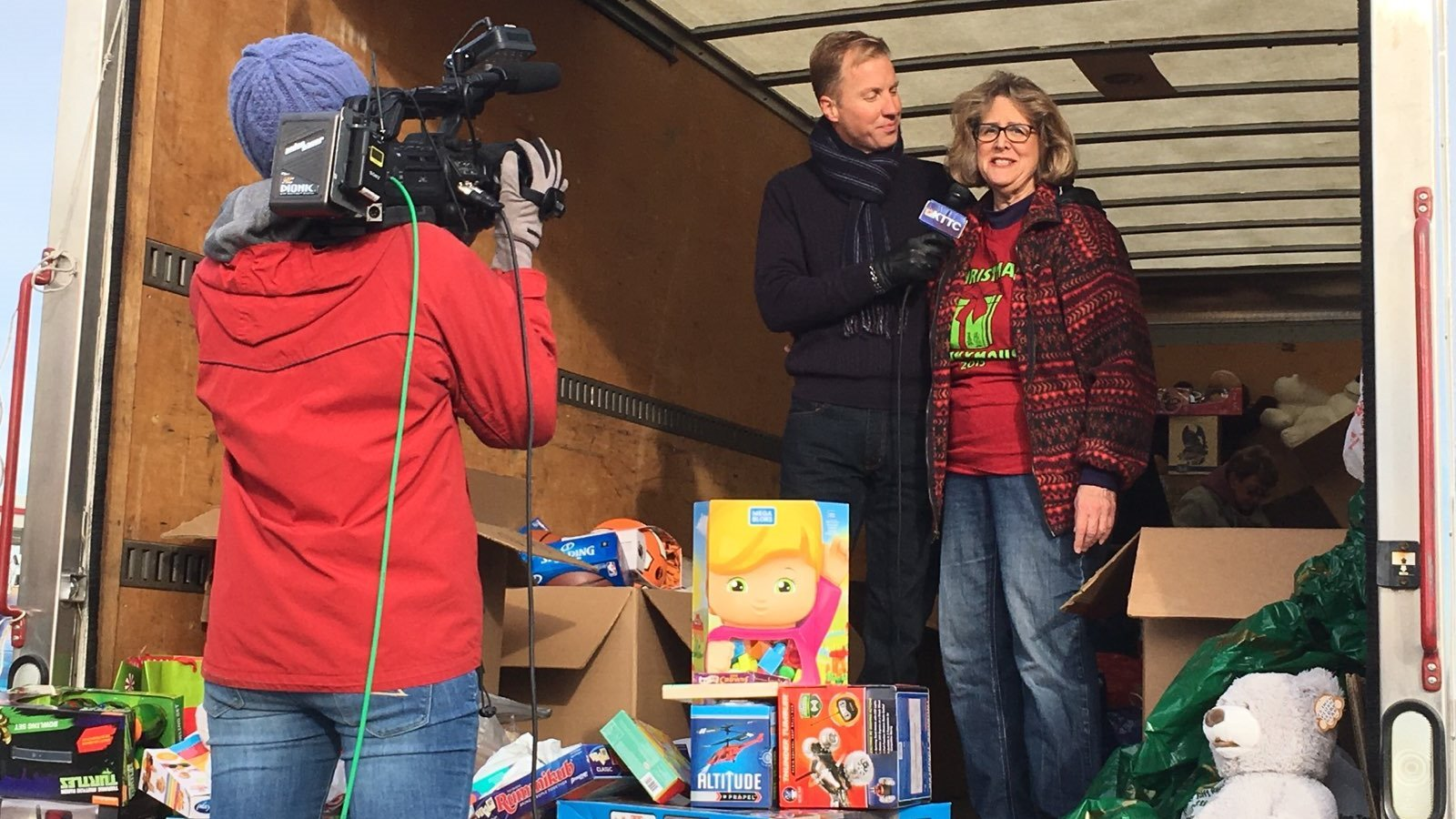 Tom Overlie interviewing Gail Sauter of Christmas Anonymous live on KTTC on Saturday morning