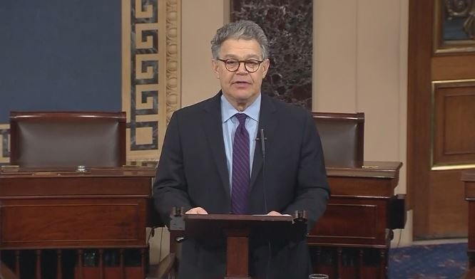 Sen. Al Franken (D) announcing his resignation from the U.S. Senate Thursday morning.