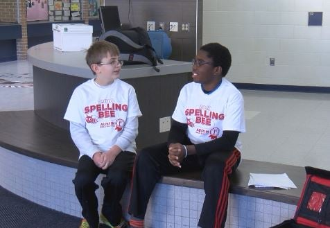 Caden Strampe  (L) and Darryl Wilson (R) came in first and second place at the Austin Public Schools District Spelling Bee