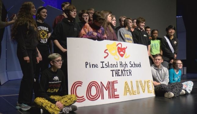 Pine Island theater students taking a group picture to send to NBC
