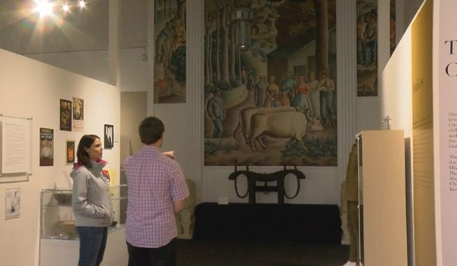 KTTC's Shannon Rousseau gets a tour of the History Center of Olmsted County from collections manager Ryan Harren.