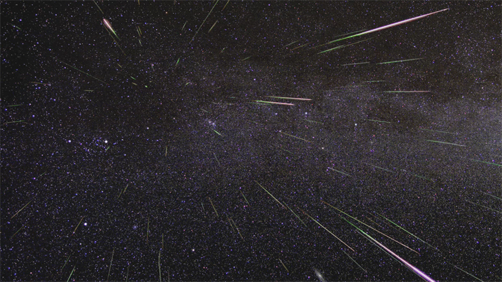 NASA/JPL. An outburst of Perseid meteors lights up the sky in August 2009 in this time-lapse image.