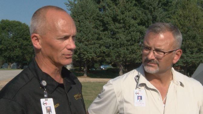 Sheriff Kevin Torgerson, Capt. Scott Behrns brief reporters