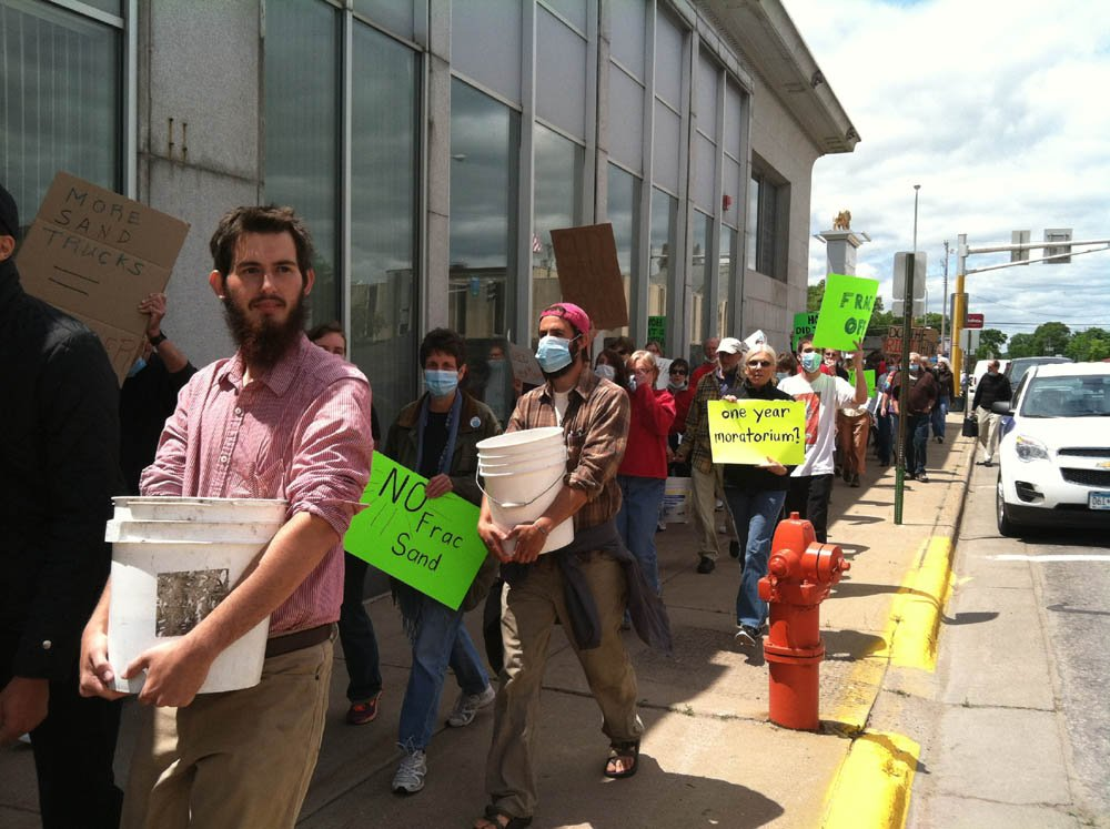 Residents protest frac sand operation on May 30 in Winona