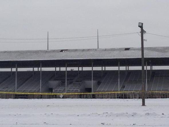 The Fair Grandstand just before it was torched by firefighters