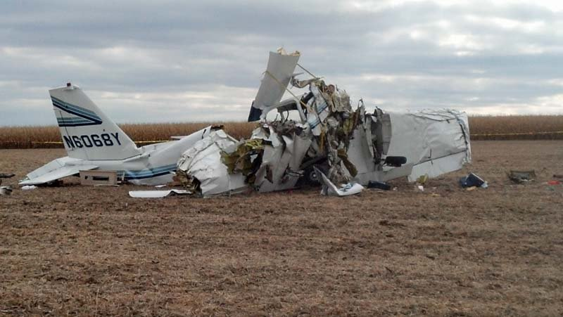 Crash site in cornfield south of runway at Houston County Airport, Caledonia