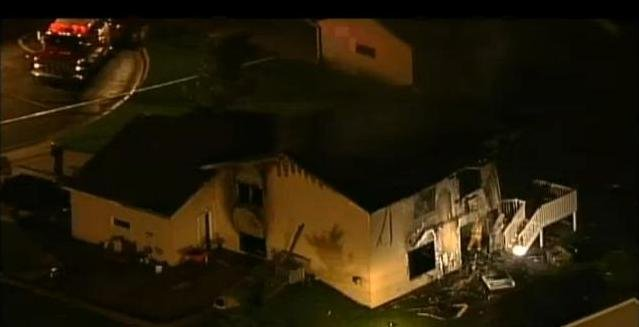 Aerial view of plane crash site Friday evening/Courtesy KARE Minneapolis