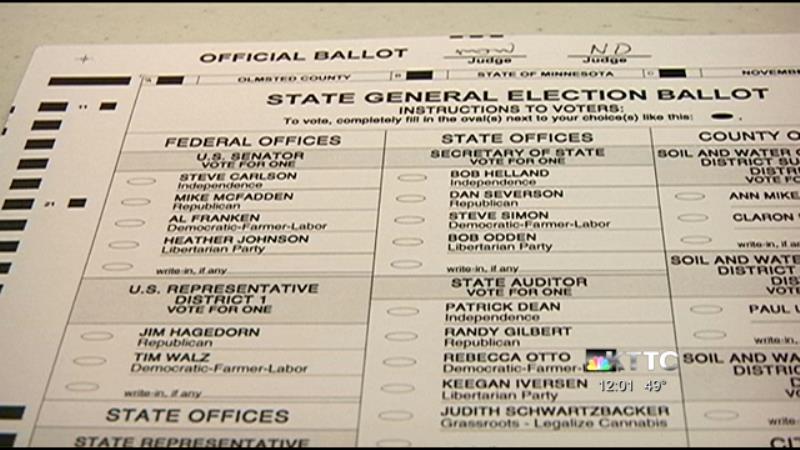 Sample Minnesota ballot