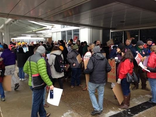 Protesters at MSP Airport on Friday / Photo: KARE