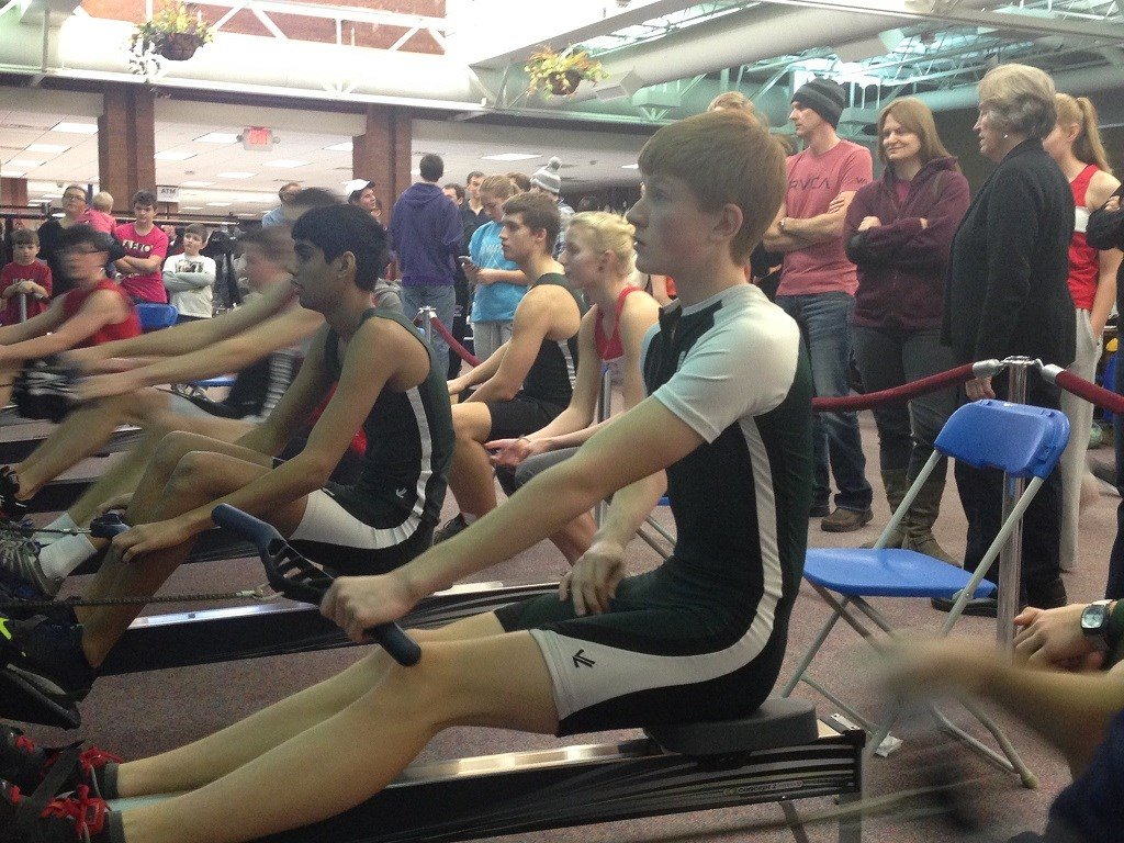 Rowers participate in a regional rowing competition at RCTC Heinz Center.