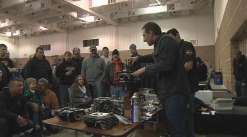 Performance technician Pat Lehmann of Rochester Harley Davidson gives a demonstration on motorcycle engines on Saturday, Feb. 28, 2015 at the Mayo Civic Center in Rochester, MN.