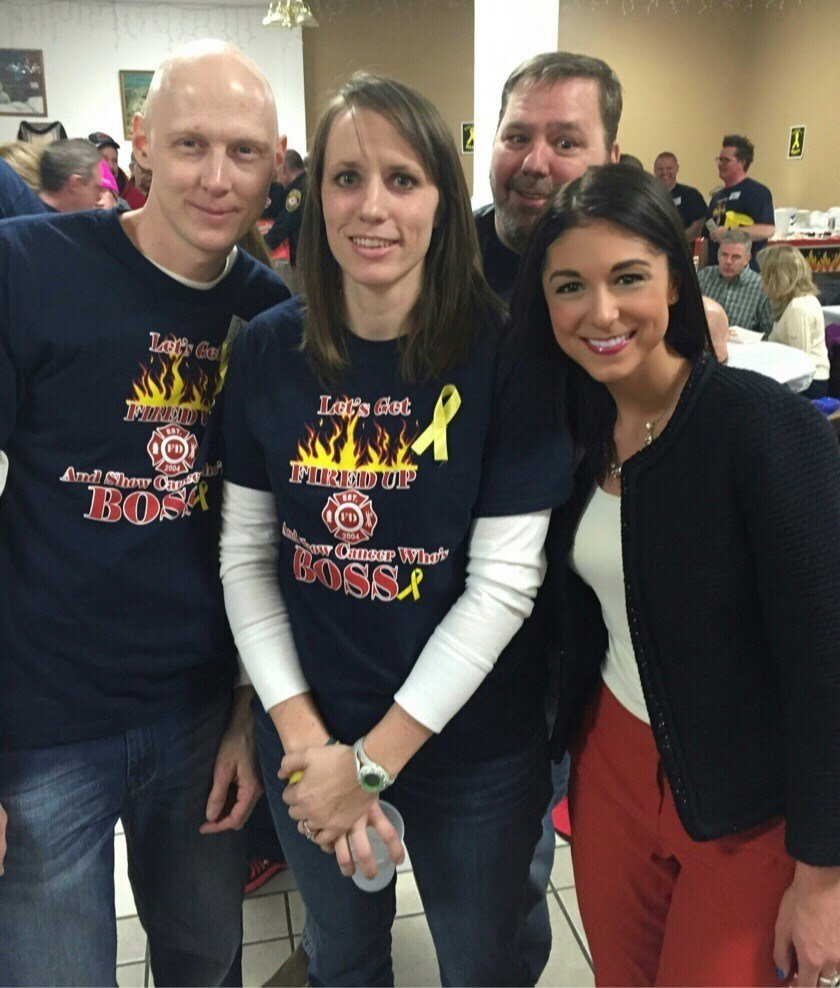 Brett Boss, wife Danielle, and KTTC NewsCenter's Alanna Martella at Boss's Benefit on Saturday in Albert Lea.