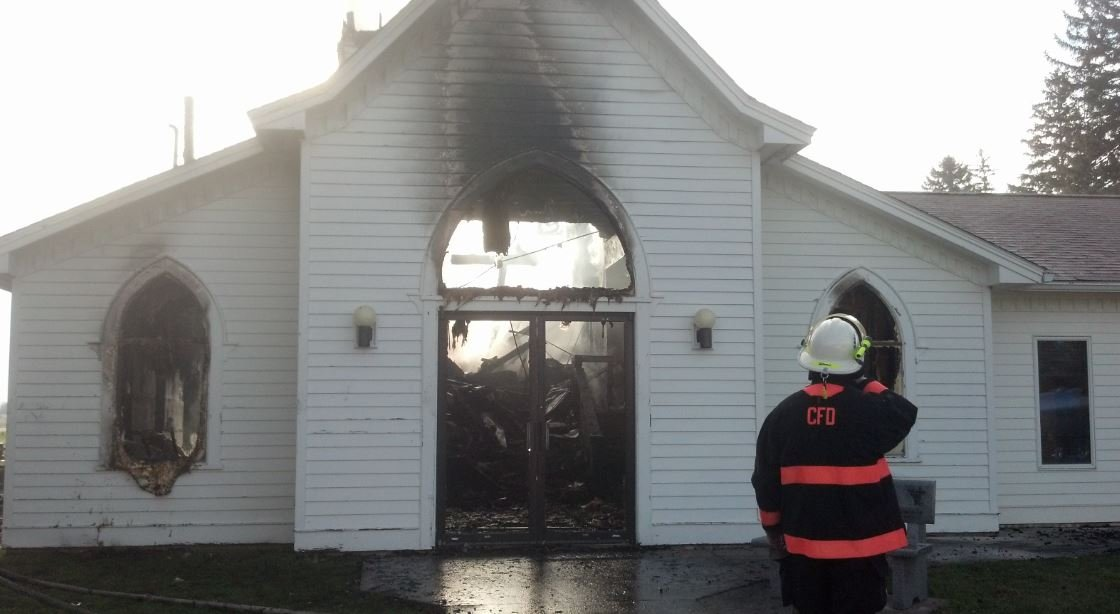 Fire destroys Henrytown Lutheran Church /  36190 County Road 18, Canton