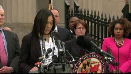 State's Attorney Marilyn J. Mosby says the officers repeatedly failed to get Gray medical treatment after his arrest and did not buckle him up inside the police transport van, contrary to a police department order.