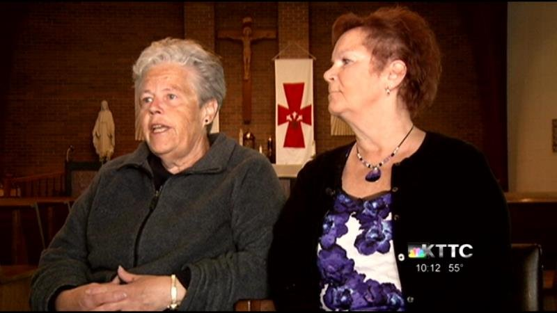 Margret Miller and Cindy Duckett, parishioners of Assumption Catholic Church in Canton