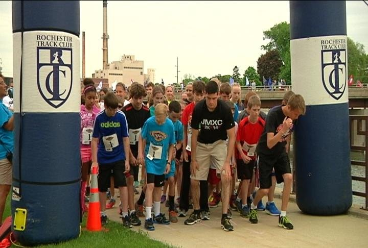 Runners take-off at Saturday's Med City Kids' Marathon.