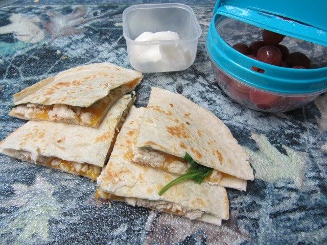 Andrea Bjortomt's easy chicken and spinach quesadilla