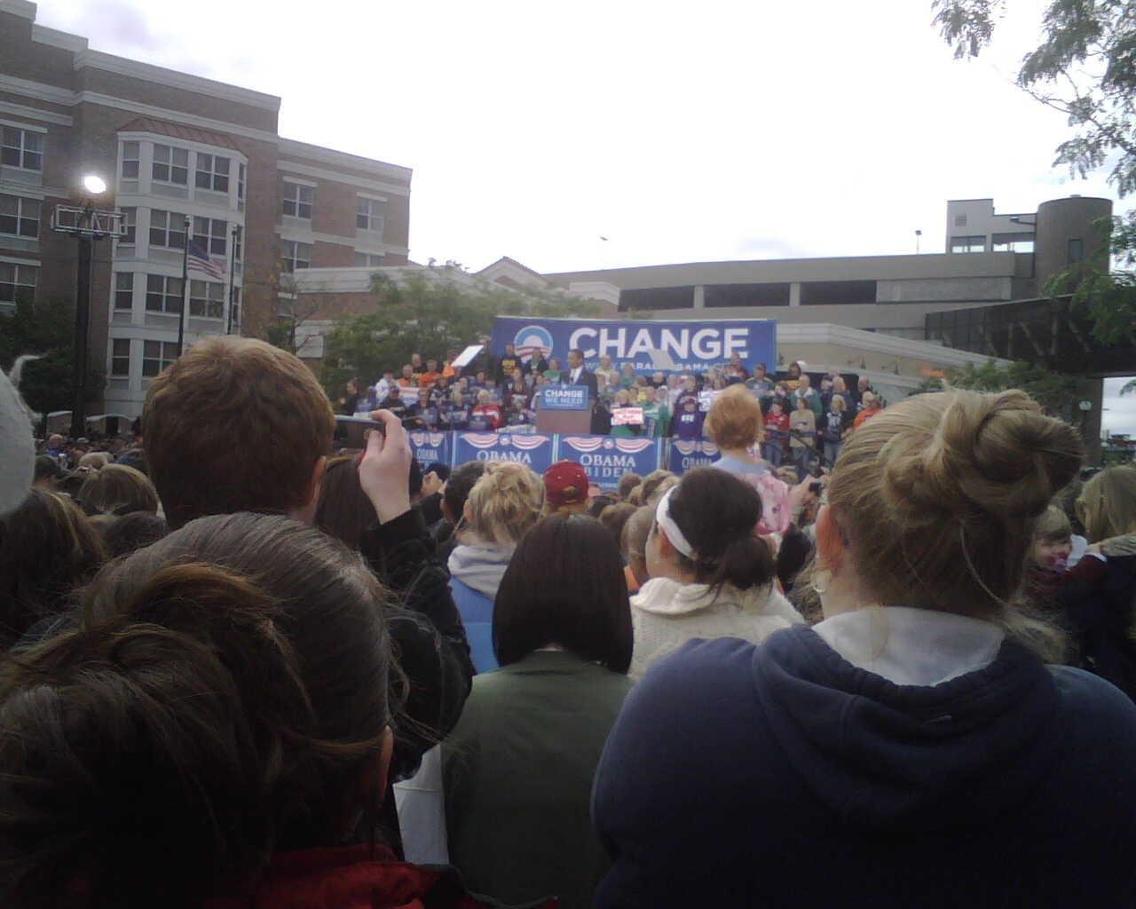 Obama took the stage around 10 a.m. Wednesday