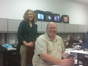 Anchor Jess Abrahamson and Director Mike Hintz prepare for the last analog cut-in