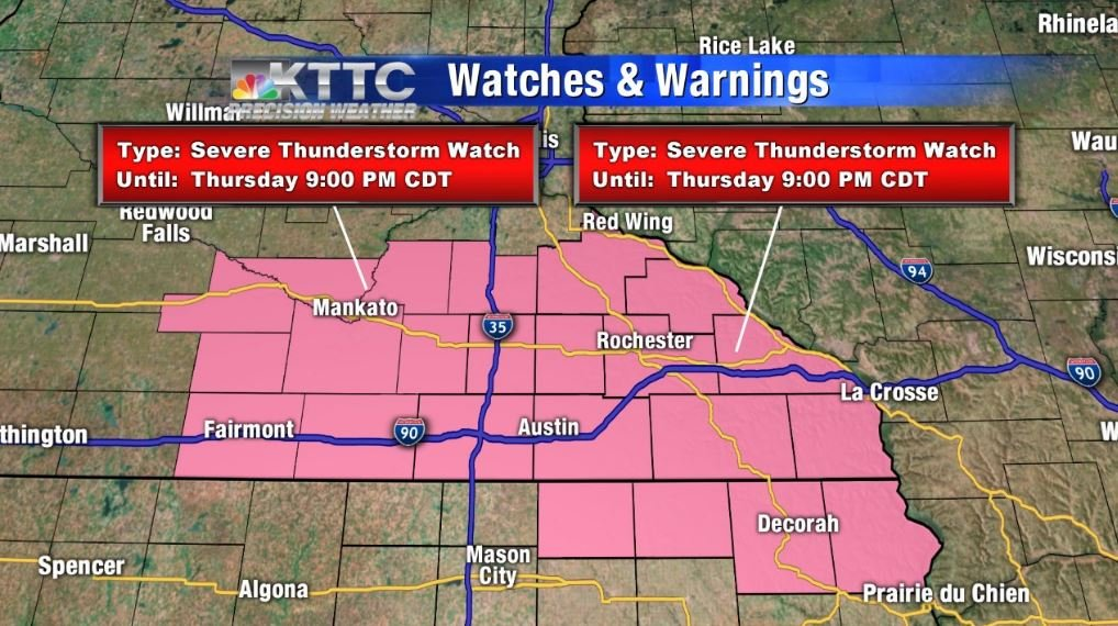thunderstorms expected thursday watches and