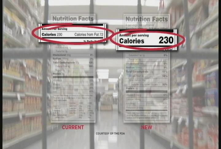 New labels emphasize the calories in a food item / Photo: FDA