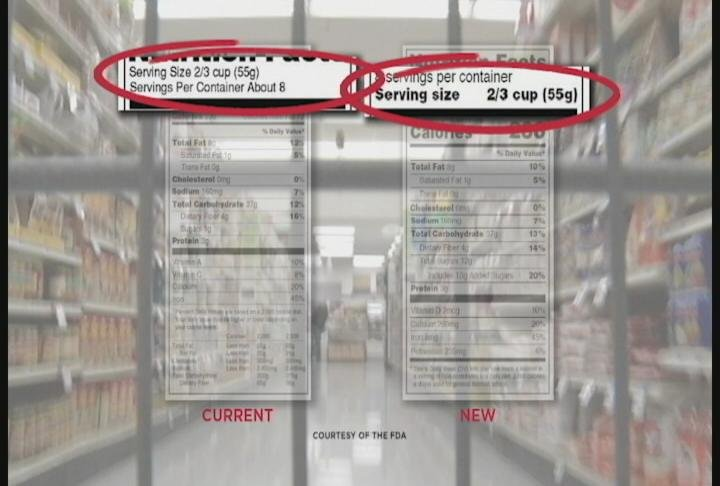 New labels emphasize the serving size of a food item / Photo: FDA