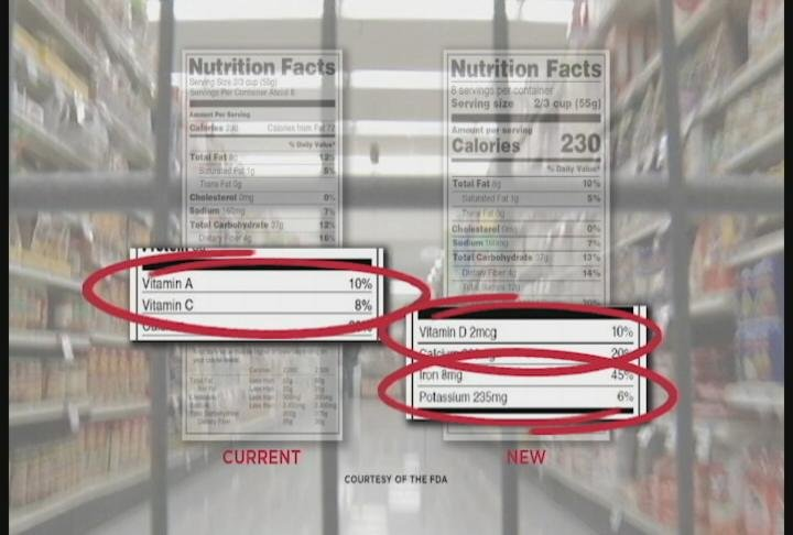 New labels replace Vitamin A and Vitamin C lines with areas for Vitamin D and Potassium / Photo: FDA