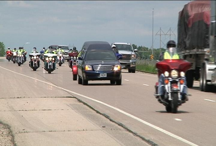 Patriot Guard Riders escorted Glaydon's casket after it landed at MSP