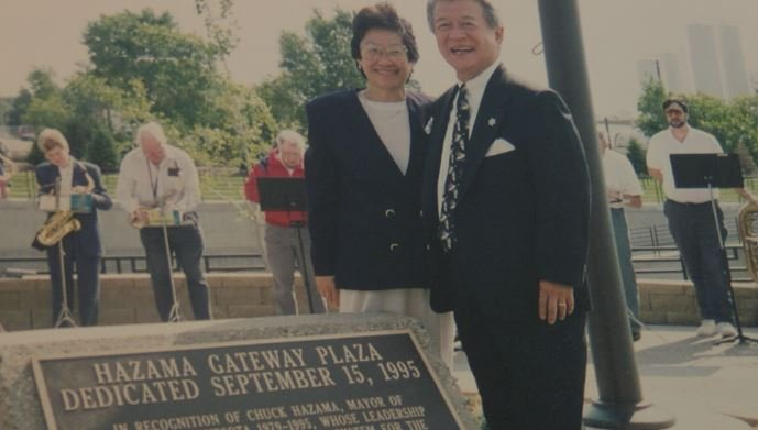 Hazama with his wife, Aly, who passed away in 2002